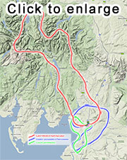 Lake District flights route map