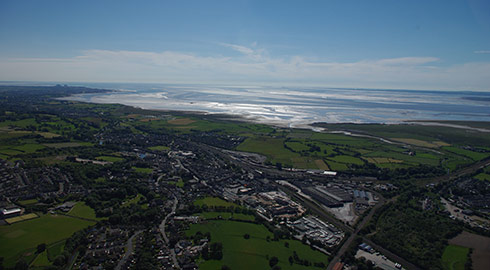 We also offer 'Local Landmarks' & a 'North Lancashire Panorama' flights for local areas - Carnforth & The Bay shown.