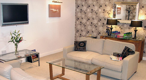 Lounge facilities at our head offices in Blackpool where you can relax with a coffee or celebrate with champagne!